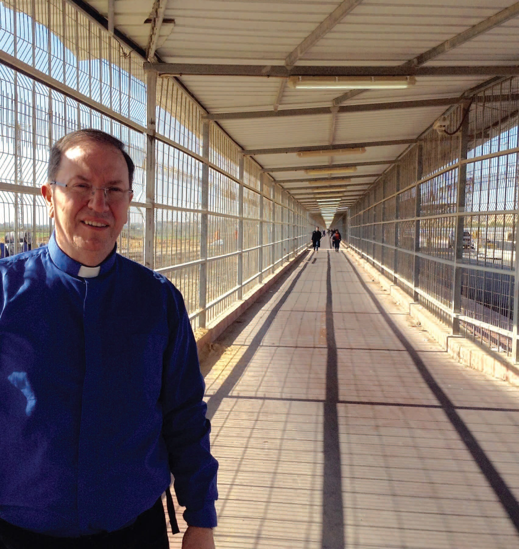 Editor Father Paul Clayton Lea at the caged Gaza crossing